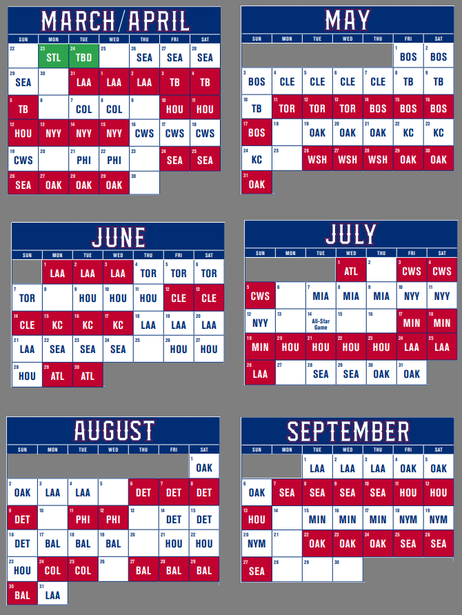 2020 Texas Rangers Schedule at Globe Life Field
