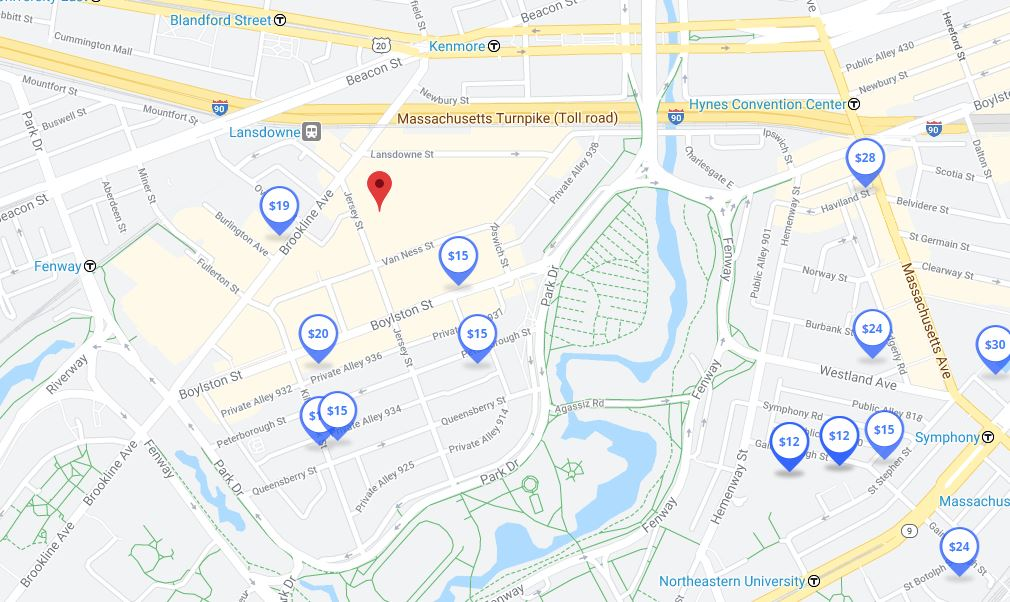 Parking Map shows where you can save money on parking for Red Sox games near Fenway Park